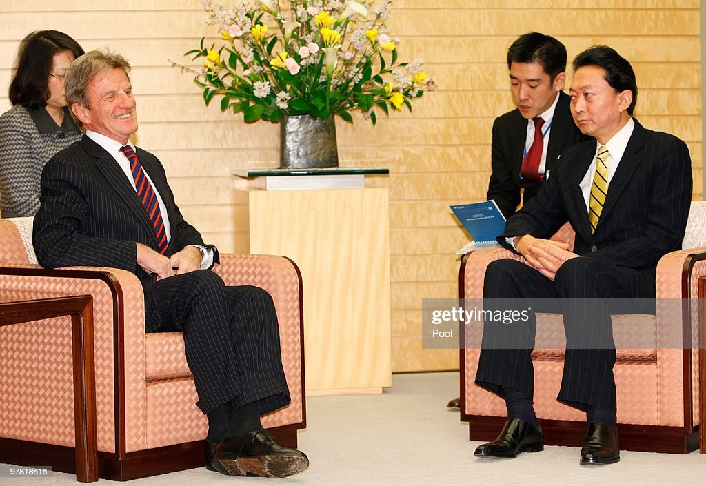 French foreign minister Bernard Kouchner (L) holds talks with Japanese Prime Minister Yukio Hatoyama prior to their talks at Hatoyama's official residence on March 18, 2010 in Tokyo, Japan. Talks are expected to include the delay that France have stated should occur in any worldwide trade ban on bluefin tuna, while awaiting a detailed scientific report by the UN Convention on International Trade in Endangered Species (CITES).