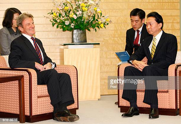 French foreign minister Bernard Kouchner holds talks with Japanese Prime Minister Yukio Hatoyama prior to their talks at Hatoyama's official...