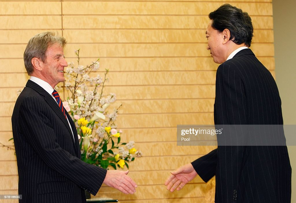 French foreign minister Bernard Kouchner (L) is welcomed by Japanese Prime Minister Yukio Hatoyama prior to their talks at Hatoyama's official residence on March 18, 2010 in Tokyo, Japan. Talks are expected to include the delay that France have stated should occur in any worldwide trade ban on bluefin tuna, while awaiting a detailed scientific report by the UN Convention on International Trade in Endangered Species (CITES).
