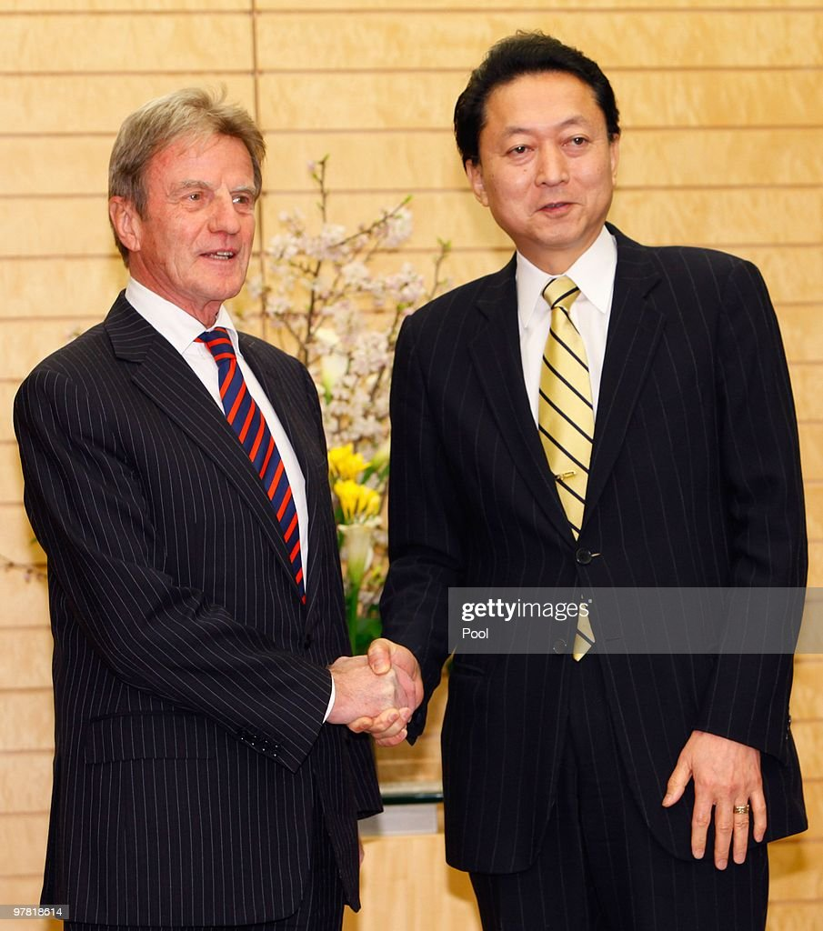 French foreign minister Bernard Kouchner (L) shakes hands with Japanese Prime Minister Yukio Hatoyama prior to their talks at Hatoyama's official residence on March 18, 2010 in Tokyo, Japan. Talks are expected to include the delay that France have stated should occur in any worldwide trade ban on bluefin tuna, while awaiting a detailed scientific report by the UN Convention on International Trade in Endangered Species (CITES).