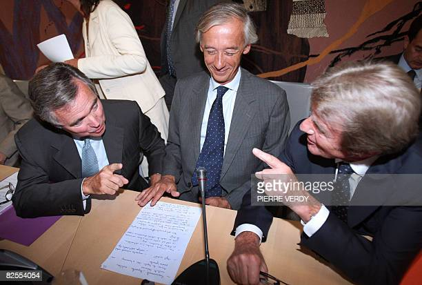 French Foreign minister Bernard Kouchner talks with the president of the National Assembly Bernard Accoyer and the president of Forein Affairs...