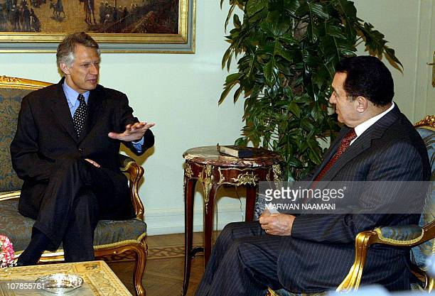 French Foreign Minister Dominique De Villepin gestures during his meeting with Egyptian President Hosni Mubarak in Cairo 12 April 2003 De Villepin...