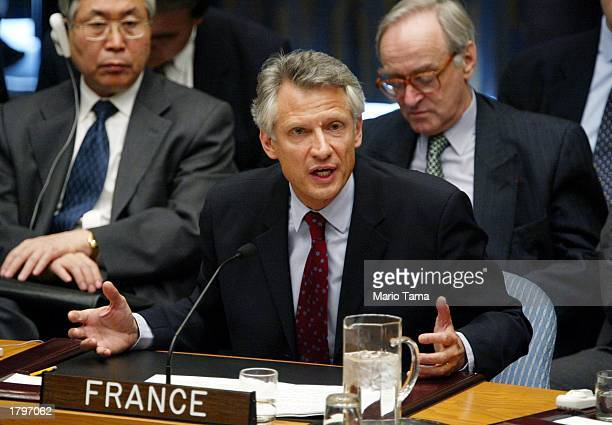 French Foreign Minister Dominique deVillepin delivers a speech at UN headquarters after Chief UN weapons inspector Hans Blix's address to the...