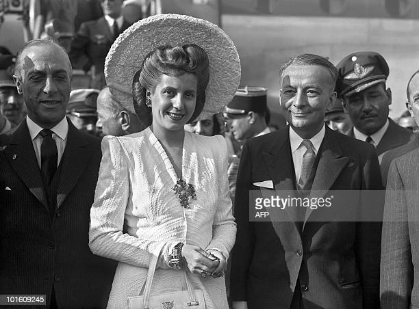 French foreign minister Georges Bidault greets Argentinean Eva Peron 21 July 1947 as she arrives at Orly airport for a visit in France Eva Peron...