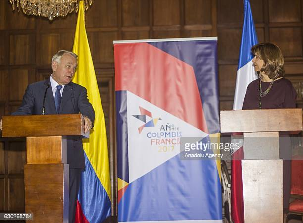 French Foreign Minister Jean-Marc Ayrault and Colombian Foreign Minister Maria Angela Holguin hold a joint press conference after a meeting at San...