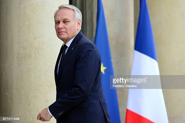 French Foreign Minister Jean-Marc Ayrault arrives to attend a meeting with French President Francois Hollande and Palestinian President Mahmoud Abbas...