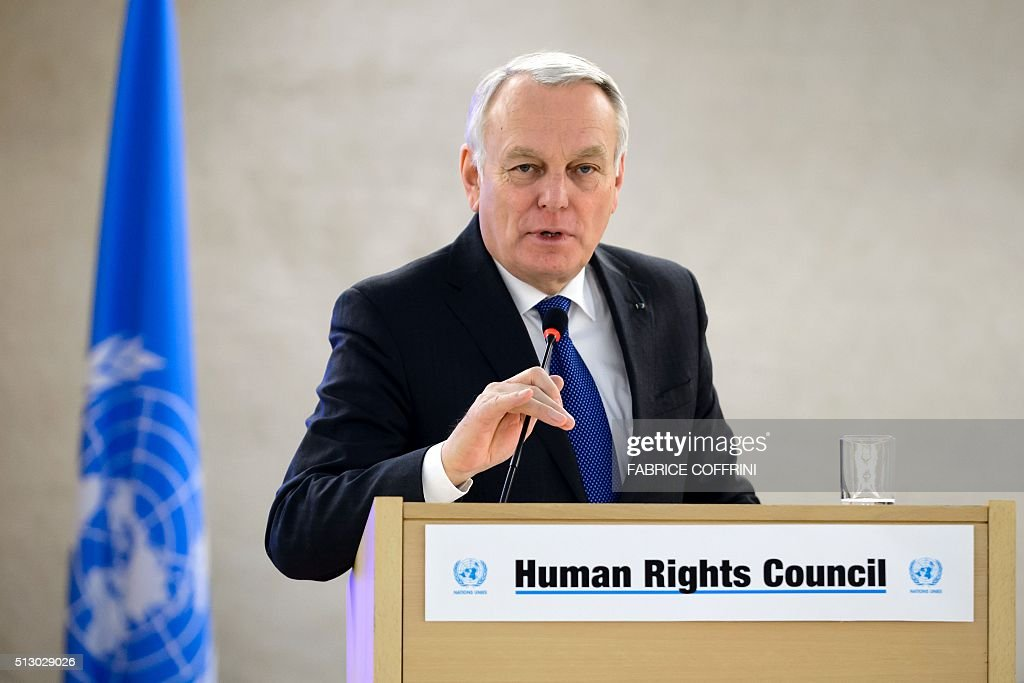 French Foreign Minister Jean-Marc Ayrault delivers a speech at the opening of the United Nations Human Rights Council's main annual session in Geneva on February 29, 2016. French Foreign Minister Jean-Marc Ayrault called for a new meeting of a UN-backed task force overseeing a fragile Syria ceasefire 'without delay' to evaluate a range of breaches. / AFP / FABRICE
