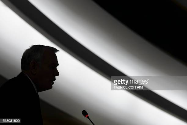 French Foreign Minister JeanMarc Ayrault delivers a speech at the opening of the main annual session of the United Nations Human Rights Council in...