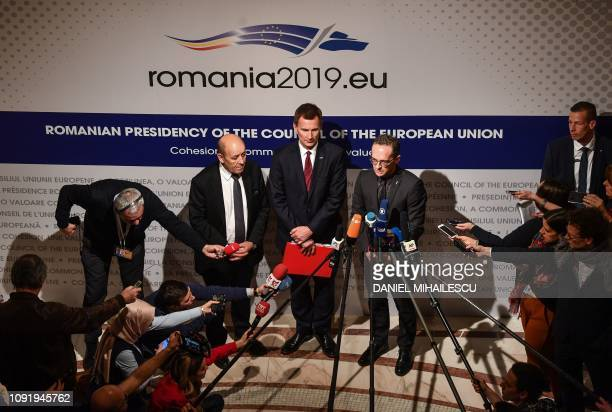 French Foreign Minister Jean-Yves Drian , UK Foreign Secretary Jeremy Hunt and German Foreign Minister Heiko Maas give a press conference on Iran at...