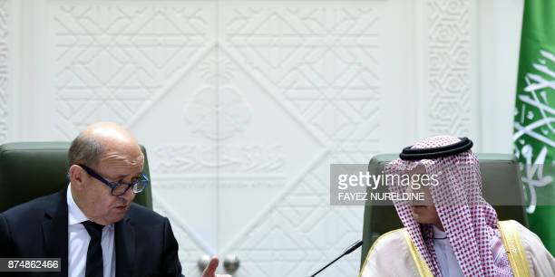 French Foreign Minister JeanYves Le Drian addresses a joint press conference with his Saudi counterpart Adel alJubeir in the Saudi capital Riyadh on...