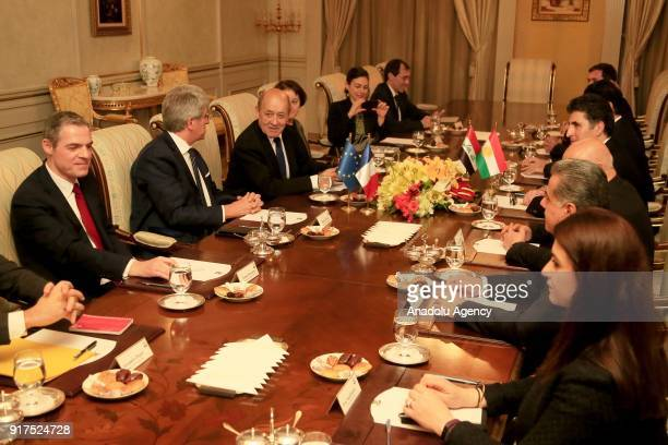 French Foreign Minister JeanYves Le Drian and Iraqi Kurdish Regional Government Prime Minister Nechirvan Barzani meet in Erbil Iraq on February 12...