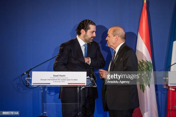 French Foreign Minister JeanYves Le Drian and Lebanon's Prime Minister Saad alHariri speak before a joint press conference after their meeting with...