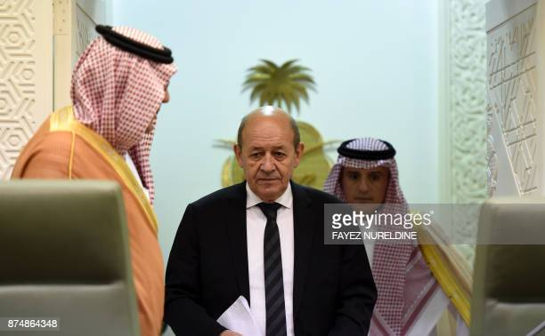 French Foreign Minister JeanYves Le Drian arrives for a joint press conference with his Saudi counterpart Adel alJubeir in the Saudi capital Riyadh...
