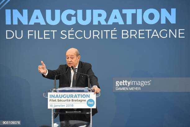 French Foreign Minister, Jean-Yves le Drian, delivers a speech during the inauguration of the electrical RTE safety net linking Lorient to...