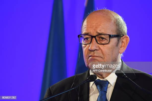 French Foreign Minister JeanYves Le Drian holds a joint press conference with his Russian counterpart following their talks on Ukraine and Syria on...