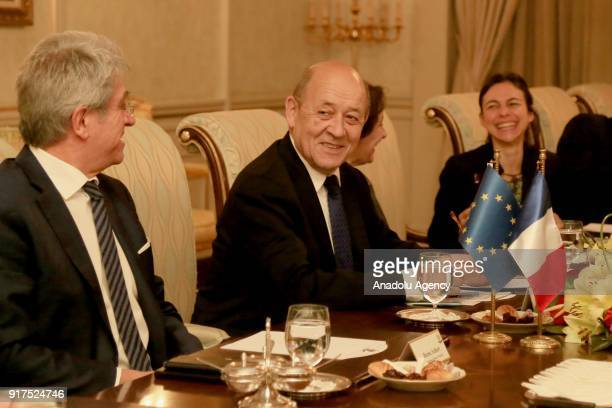 French Foreign Minister JeanYves Le Drian is seen during his meeting with Iraqi Kurdish Regional Government Prime Minister Nechirvan Barzani in Erbil...