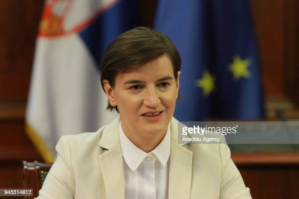 French Foreign Minister JeanYves Le Drian meets Serbian Prime Minister Ana Brnabic during their meeting in Belgrade Serbia on April 12 2018