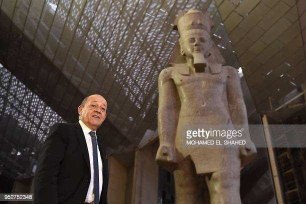 French Foreign Minister JeanYves Le Drian visits at the site of the Grand Egyptian Museum in Giza on the outskirts of Cairo on April 29 2018