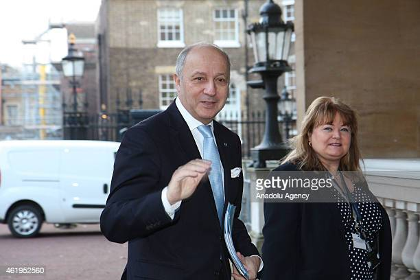 French Foreign Minister Laurent Fabius arrives for a meeting with coalition members to discuss the threat of Islamic State of Iraq and the Levant at...