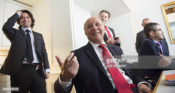 French Foreign Minister Laurent Fabius briefs French journalists at the Palais Coburg Hotel where the Iran nuclear talks are being held in Vienna...