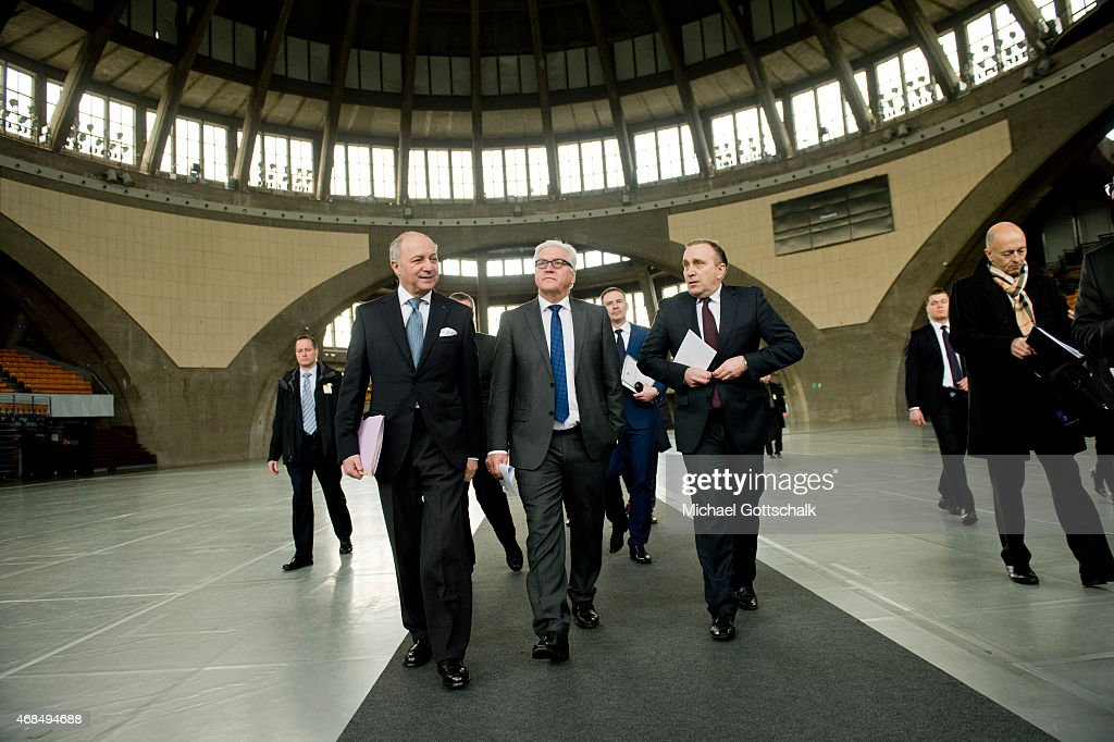 French Foreign Minister Laurent Fabius, German Foreign Minister Frank-Walter Steinmeier and Foreign Minister of Poland Grzegorz Schetyna meet in Weimarer Dreieck format in Jahrhunderthalle (Century Hall) on April 03, 2015 in Wroclaw, Poland.