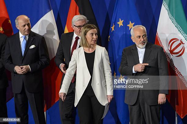 French Foreign Minister Laurent Fabius German Foreign Minister FrankWalter Steinmeier EU's foreign policy chief Federica Mogherini and Iranian...