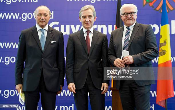 French Foreign Minister Laurent Fabius Prime Minister of Moldavia Iurie Leanca and German Foreign Minister FrankWalter Steinmeier attend a press...