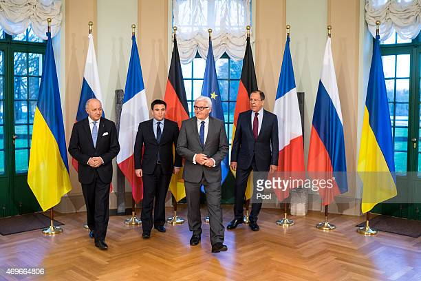 French Foreign Minister Laurent Fabius, Ukrainian Foreign Minister Pavlo Klimkin, German Foreign Minister Frank-Walter Steinmeier and Russian Foreign...
