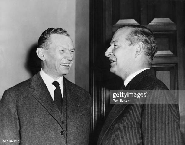 French foreign minister Maurice Couve de Murville with his British counterpart Selwyn Lloyd at the Foreign Office in King Charles Street Westminster...