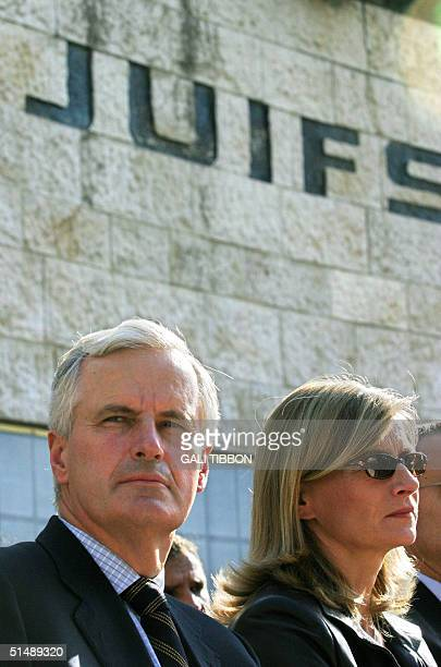 French Foreign Minister Michel Barnier and his wife Isabelle attend a memorial srvice for Jews who were deported from France during the Nazi...
