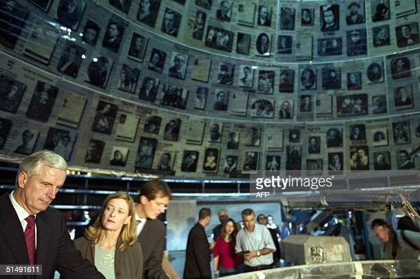 French Foreign Minister Michel Barnier and his wife Isabelle Barnier view an upcoming exhibition at a new museum in the Yad Vashem Holocaust memorial...