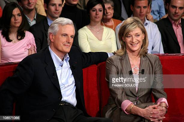French foreign minister Michel Barnier and his wife Isabelle in Paris France on March 30 2005