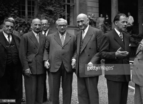 French Foreign Minister Robert Schuman chats on August 1949 with his colleagues during the European Council meeting in Strasburg. Robert Schuman was...