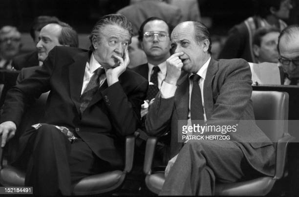 French Foreign Minister Roland Dumas and Fernando Ordonez Spain FM confer on February 17 1986 in Luxembourg during the Single European Act or Acte...