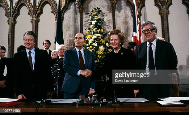 French Foreign Minister Roland Dumas French President Francois Mitterrand British Prime Minister Margaret Thatcher and British Foreign Secretary Sir...