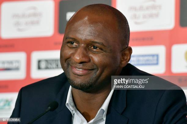French former Arsenal and France star Patrick Vieira world and European champion with Les Bleus attends a press conference after being officialy...