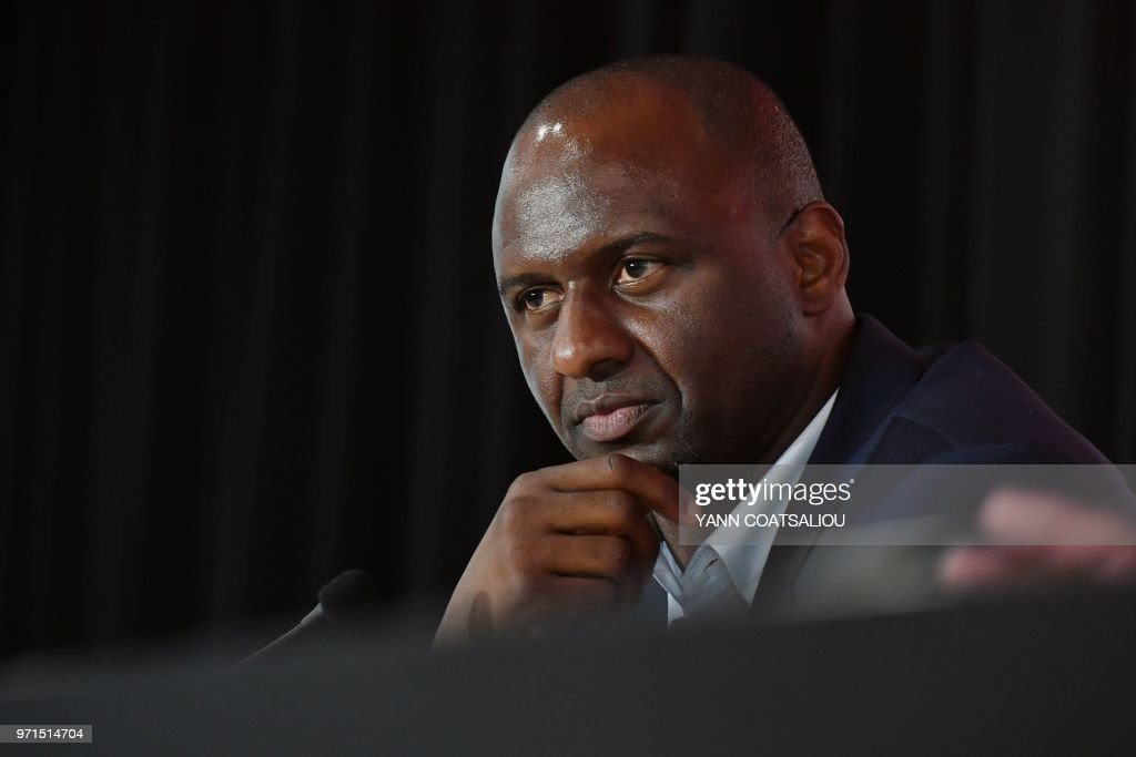 French former Arsenal and France star Patrick Vieira, world and European champion with Les Bleus, attends a press conference after being officialy appointed as French L1 football club of OGC Nice's new coach on June 11, 2018. - Vieira, 41, arrives after a stint at MLS outfit New York City FC. He has signed a three-year contract and replaces Lucien Favre who is moving to Borussia Dortmund.
