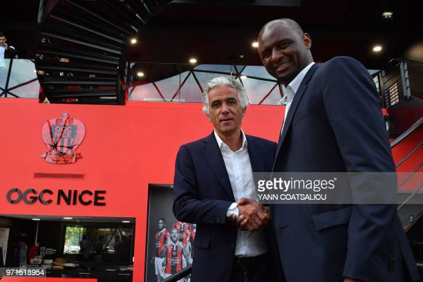 French former Arsenal and France star Patrick Vieira world and European champion with Les Bleus poses with French L1 football club of OGC Nice's...