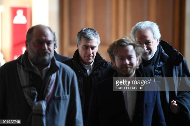 French former budget minister Jerome Cahuzac and his lawyers Eric DupondMoretti Antoine Vey and JeanAlain Michel leave Paris' courthouse on February...