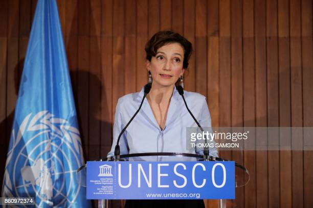 French former culture minister and newly elected head of UNESCO Audrey Azoulay addresses a press conference following her election on October 13 2017...