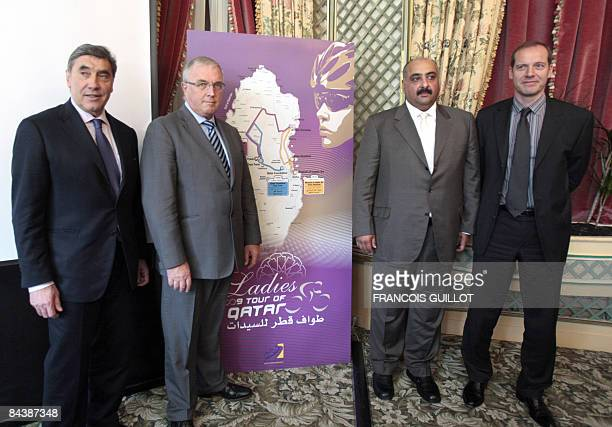 French former cyclist Eddy Merckx, International Cycling Union's president Pat Mc Quaid, Qatari Cycling Federation's president, Sheikh Khalid Bin Ali...