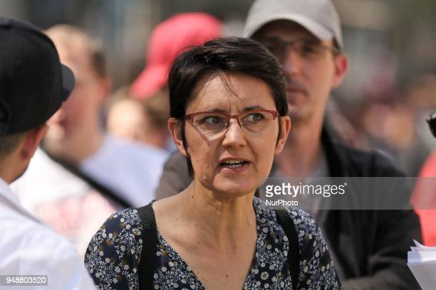 French former farleft Lutte Ouvriere party presidential candidate Nathalie Arthaud takes part in a demonstration on April 19 2018 in Paris as part of...