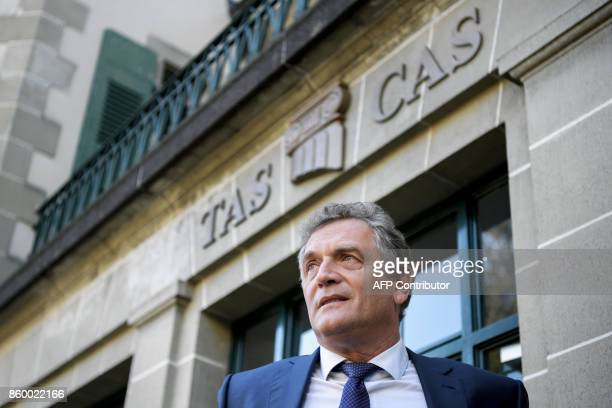 French former FIFA Secretary General Jerome Valcke looks on outside the Court of Arbitration for Sport prior to his appeal over his 10year ban from...