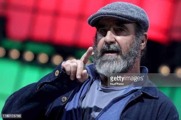 French former football player and Common Goals Global Ambassador Eric Cantona speaks during the annual Web Summit technology conference in Lisbon...