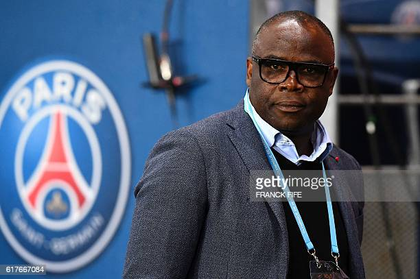 French former football player Basile Boli attends the French L1 football match between Paris SaintGermain and Olympique of Marseille at the Parc des...