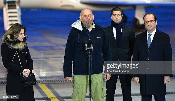 French former hostage Serge Lazarevic his doughter Diane Clement Verdon the son of French executed hostage Philippe Verdon and French President...