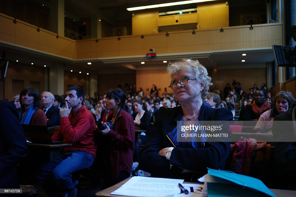 French former investigating magistrate Eva Joly listens to International Criminal Court (ICC) chief prosecutor Luis Moreno-Ocampo as he delivers a speech during an award ceremony for the Rene Cassin Freedom and Democracy prize at Sciences Po Paris (Institute of Political Studies), on May 17, 2010. Garzon was suspended from his post on May 14, 2010 ahead of his trial for abuse of power linked to a probe of Franco-era crimes.