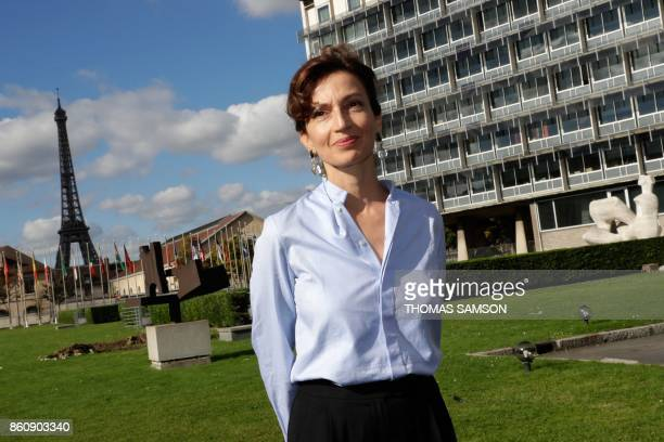 French former minister and candidate as UNESCO head Audrey Azoulay poses as she arrives on October 13 2017 at the UNESCO headquarters in Paris for a...