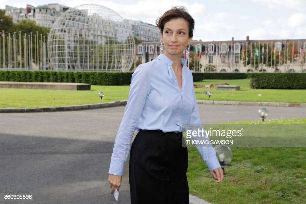 French former minister and candidate as UNESCO head Audrey Azoulay arrives on October 13 2017 at the UNESCO headquarters in Paris for a general...