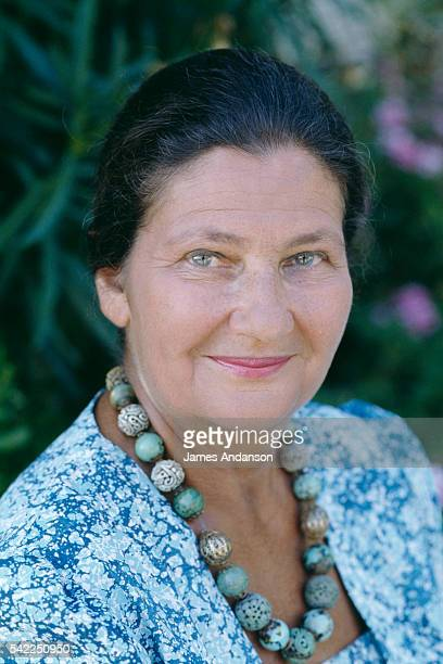 French former Minister of Health and President of the European Parliament Simone Veil with her husband politician Antoine Veil on holiday in...